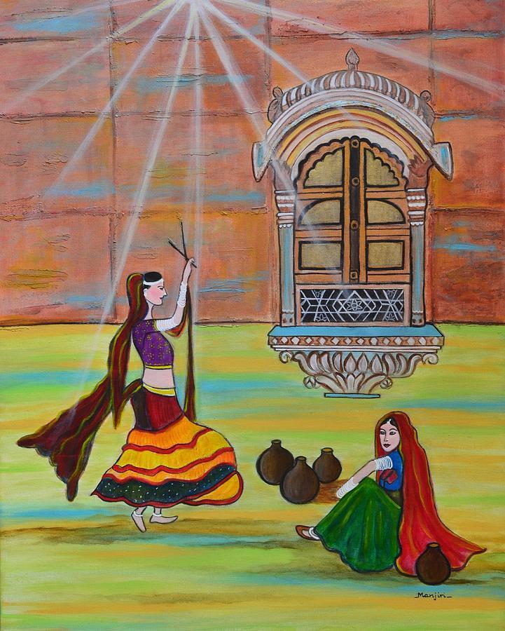 Ladies Painting - Rajasthani Ladies-dandiya  by Manjiri Kanvinde