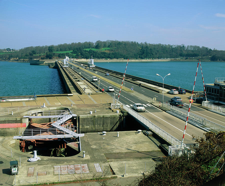 Tidal Energy Photograph - Rance Tidal Power Barrage by Martin Bond/science Photo Library