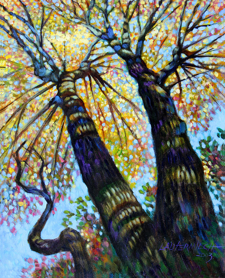 Fall Painting - Reaching for the Light by John Lautermilch