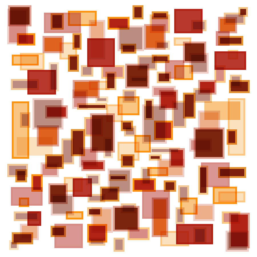 Red Painting - Red Abstract Rectangles by Frank Tschakert