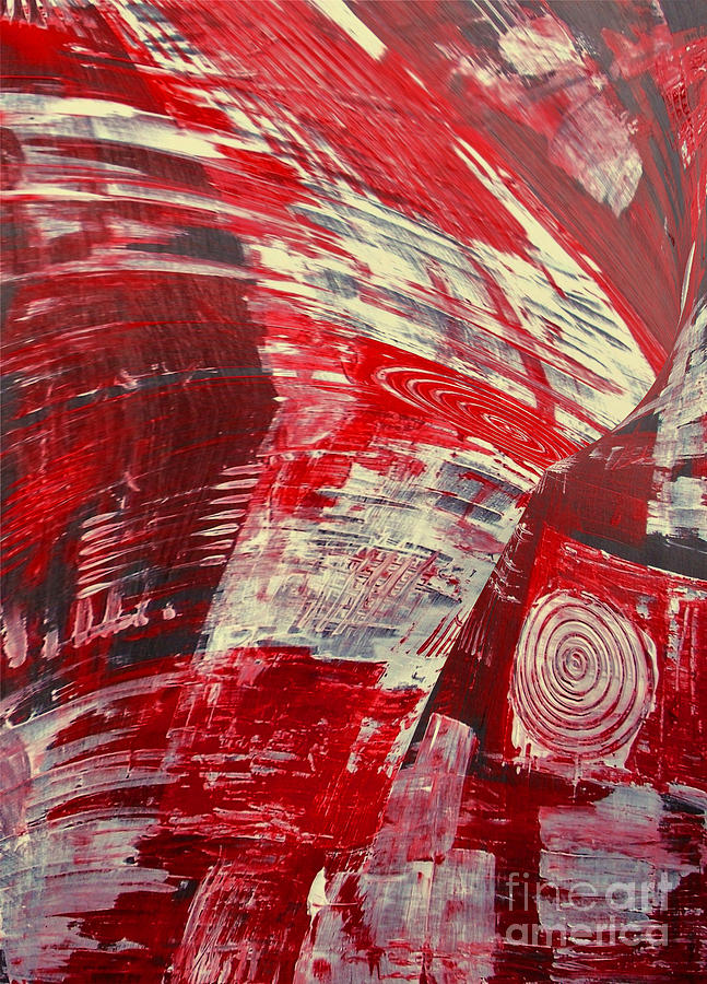 Living Room Ceramic Art - Red And White by Gabriele Mueller