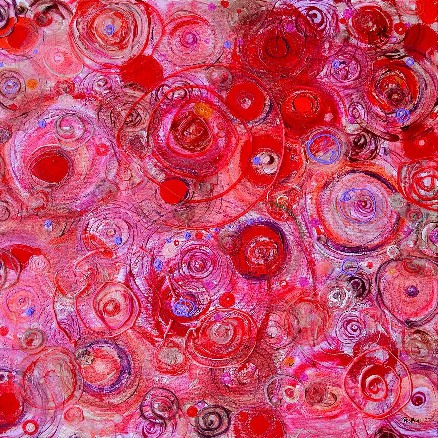 Circle Painting - Red Counterpoint by Regina Valluzzi