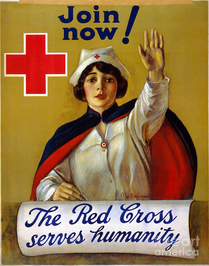 1917 Photograph - Red Cross Poster, C1917 by Granger