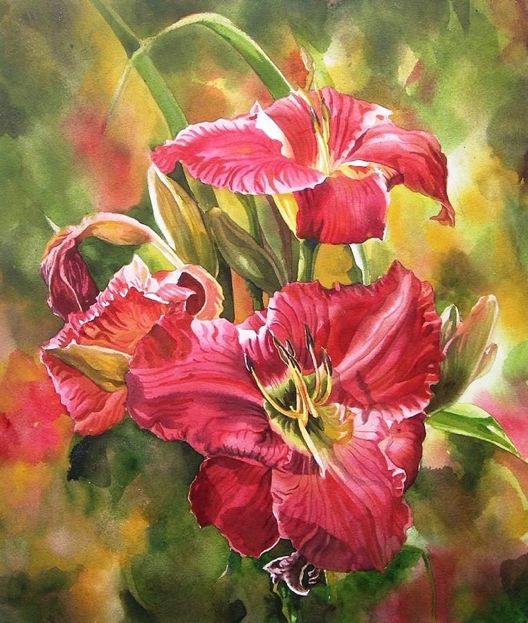 Flower Painting - Red Daylilies by Alfred Ng