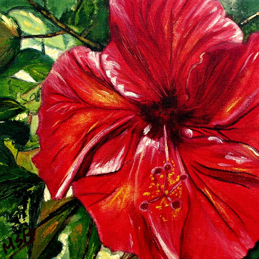 Red Hibiscus Painting - Red Hibiscus by Maria Soto Robbins