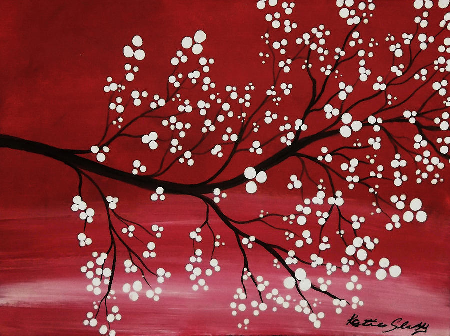 Red Japanese Cherry Blossom Painting By Katie Slaby