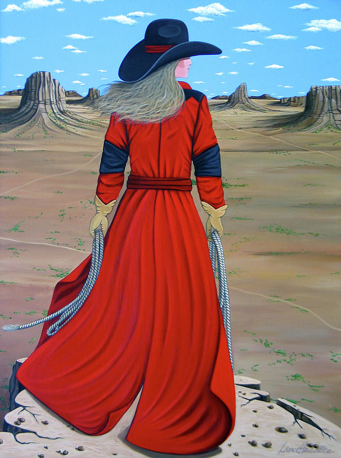 Cowgirl Painting - Red by Lance Headlee
