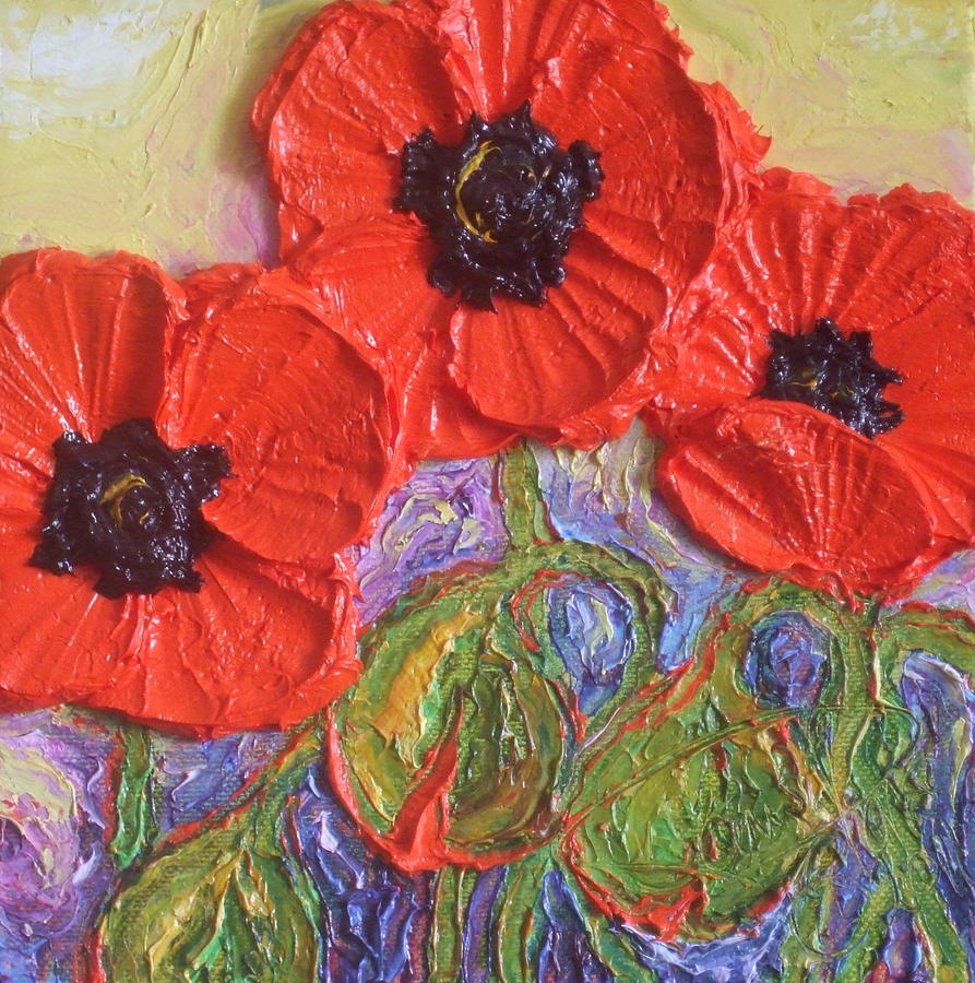 Oil On Canvas Painting - Red Poppies by Paris Wyatt Llanso