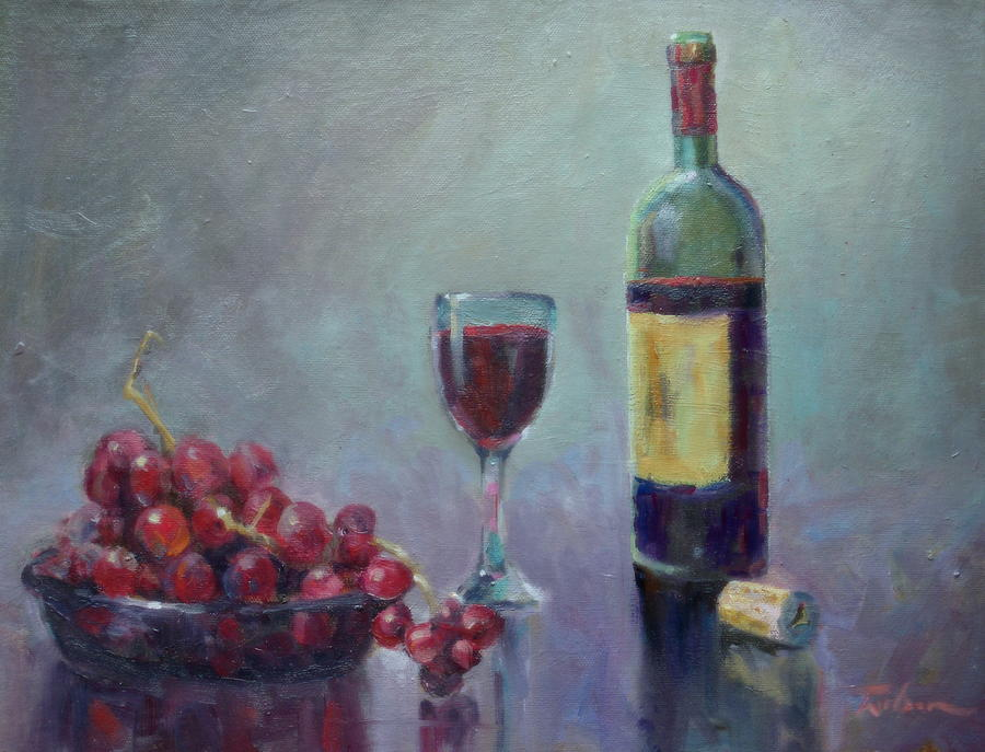 Red Painting - Red - Red Wine by Ron Wilson