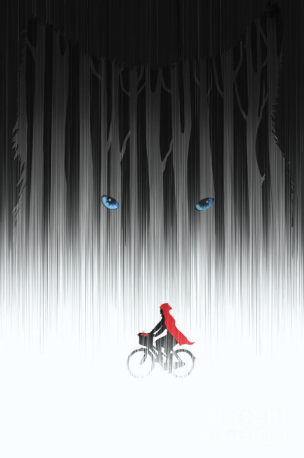 Bicycle Painting - Red Riding Hood by Sassan Filsoof