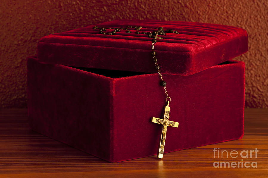 Catholic Photograph - Red Velvet Box With Cross And Rosary by Jim Corwin