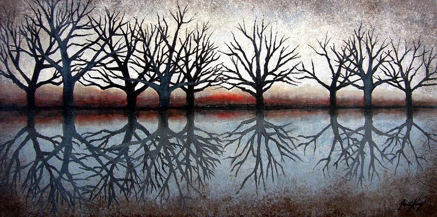 Tree Painting - Reflecting Trees by Janet King