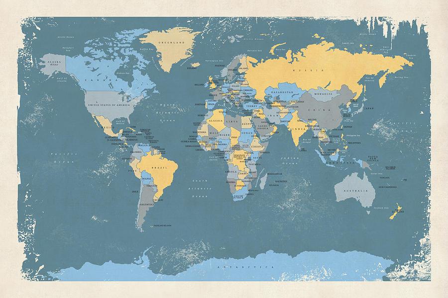 World Map Digital Art - Retro Political Map Of The World by Michael Tompsett