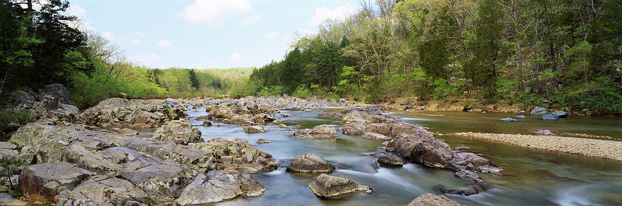 Horizontal Photograph - River Flowing Through Rocks, Black by Panoramic Images
