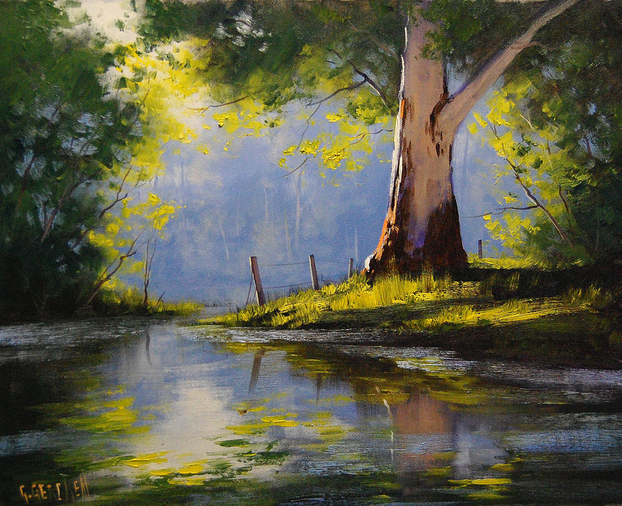 River Painting - River Gum by Graham Gercken
