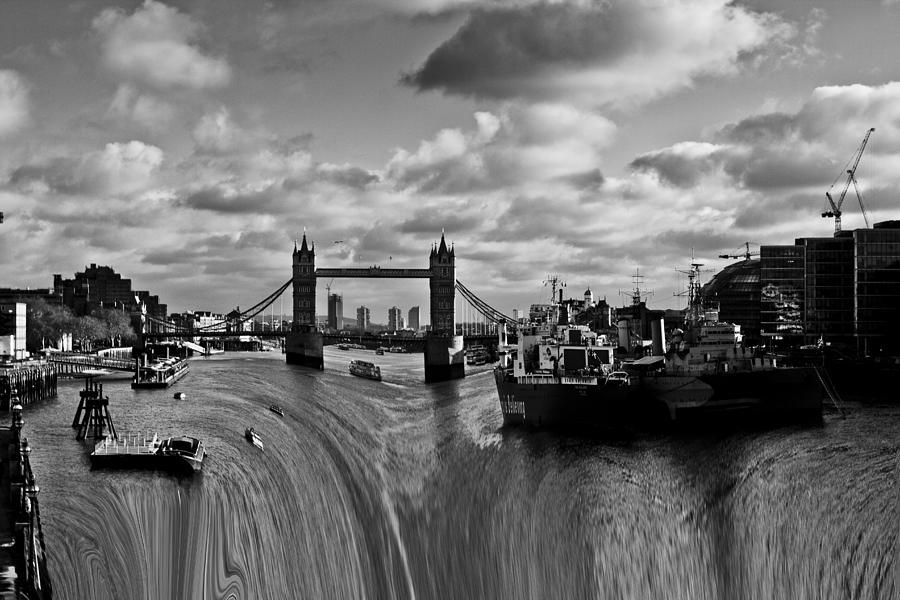Waterfall Photograph - River Thames Waterfall by David Pyatt