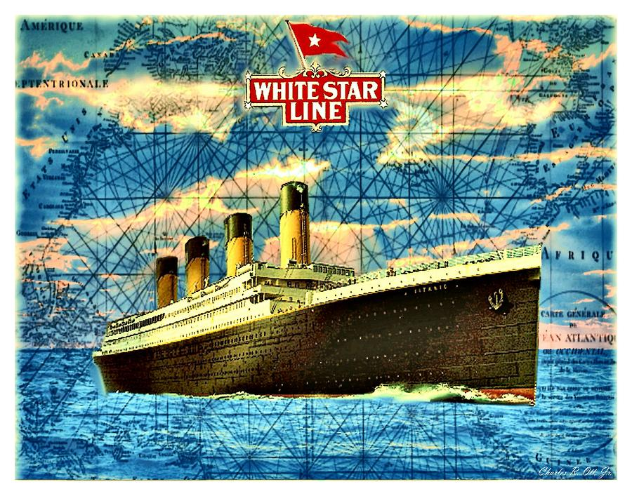 Boats Digital Art - RMS Titanic by Charles Ott
