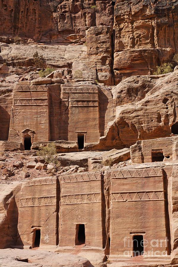 Tombs Photograph - Rock Cut Tombs On The Street Of Facades Petra Jordan by Robert Preston
