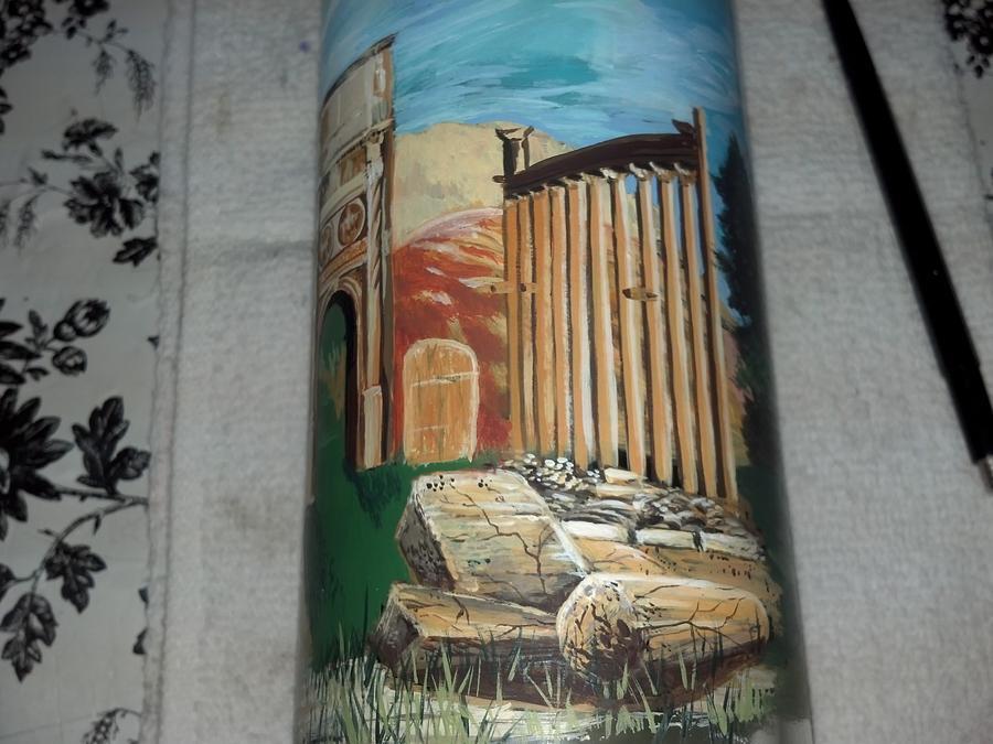 Glass Vase Glass Art - Roman Ruins by Dan Olszewski
