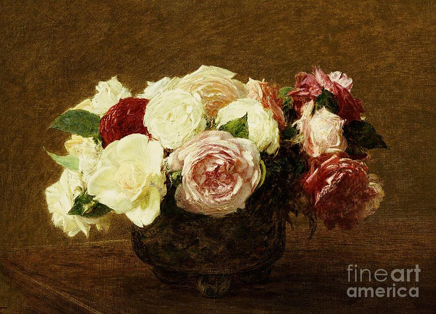 Roses Painting - Roses by Ignace Henri Jean Fantin-Latour
