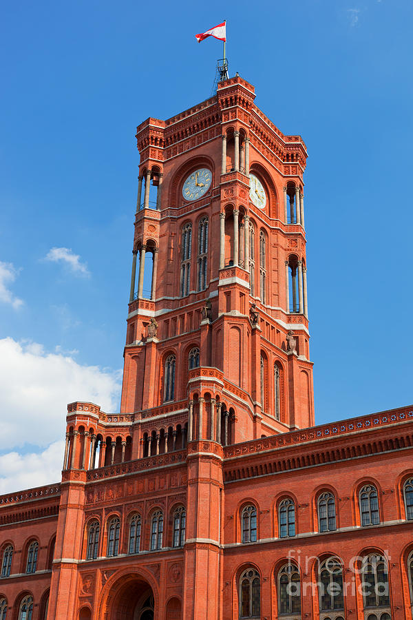 Berlin Photograph - Rotes Rathaus The Town Hall Of Berlin Germany by Michal Bednarek