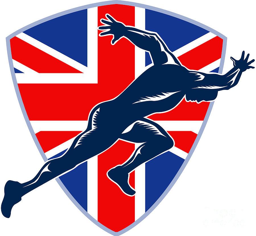 Athlete Digital Art - Runner Sprinter Start British Flag Shield by Aloysius Patrimonio