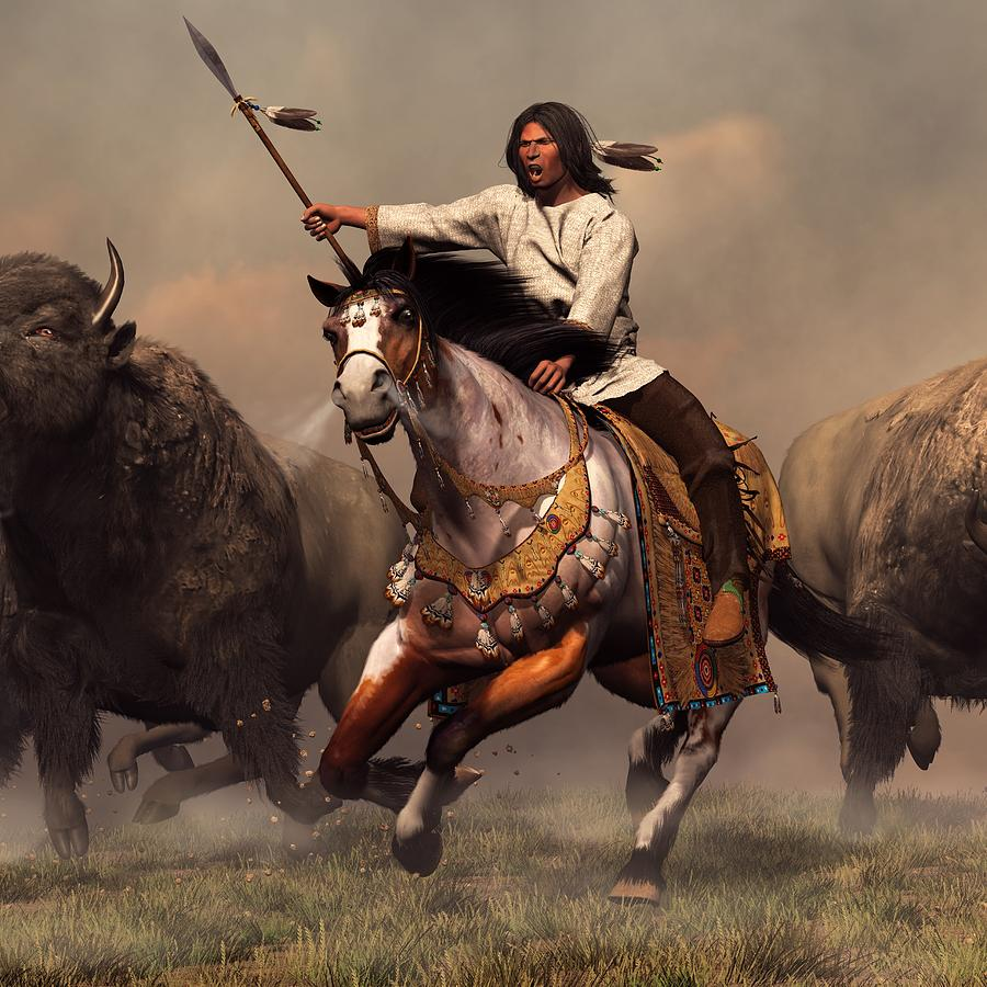 Western Digital Art - Running With Buffalo by Daniel Eskridge