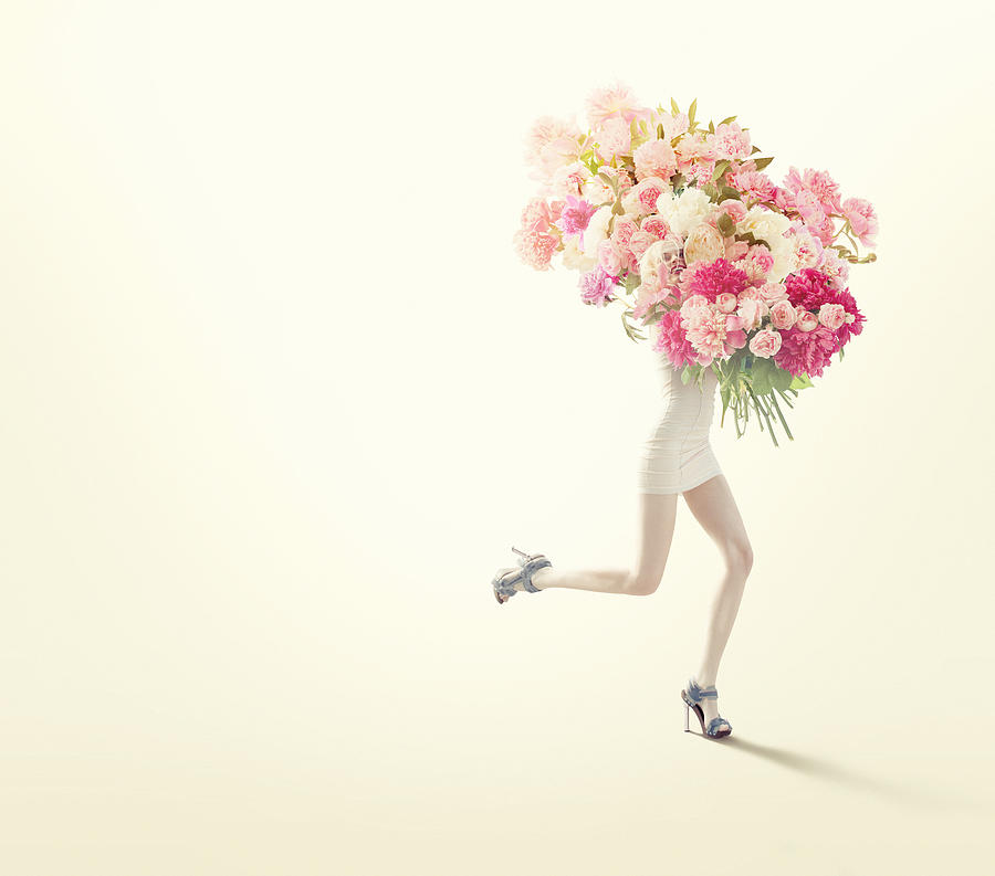 Running Women With Giant Bunch Of Flowers Photograph by Vizerskaya