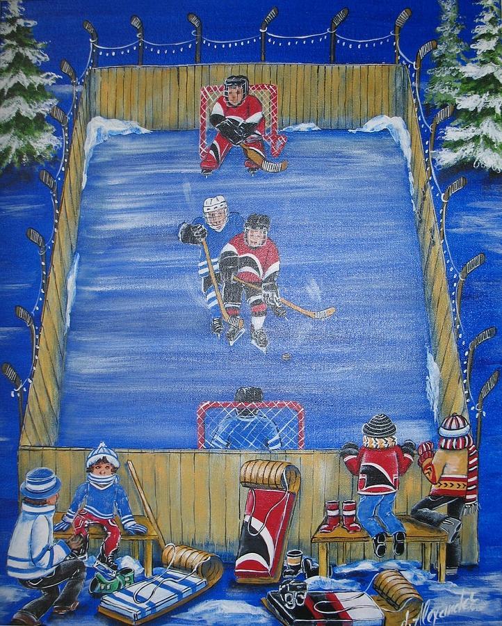 Hockey Painting - Rush The Puck by Jill Alexander