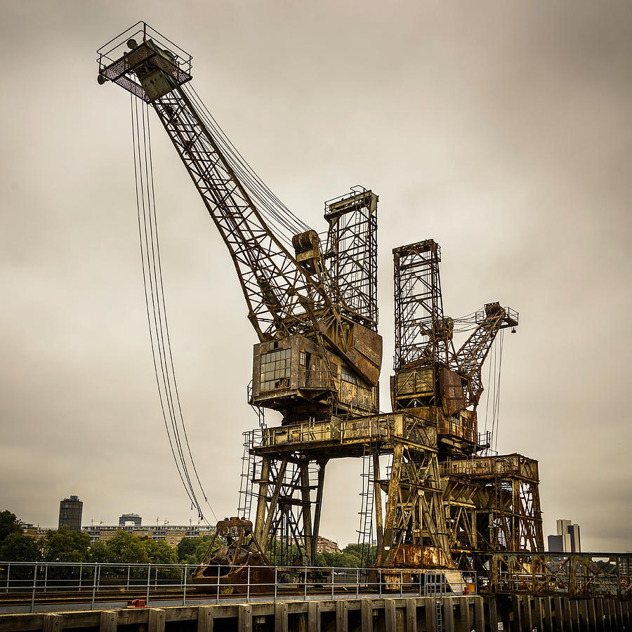 Old Photograph - Rusty Cranes At Battersea Power Station by Dutourdumonde Photography