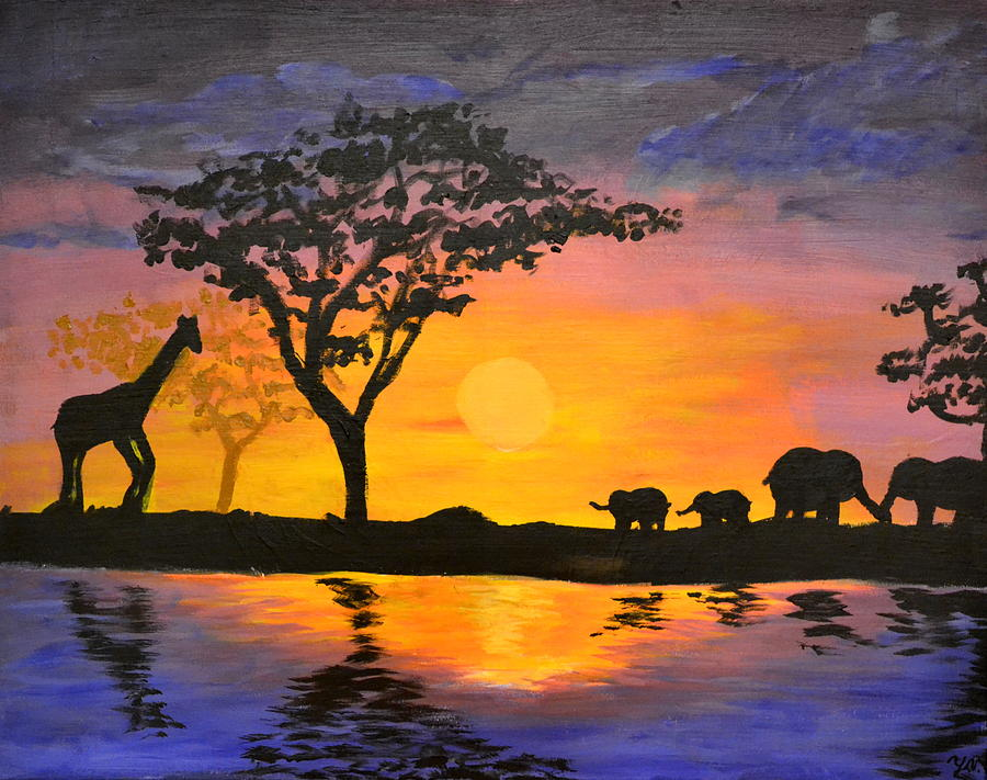 Safari Painting By Yekaterina Vikhrev
