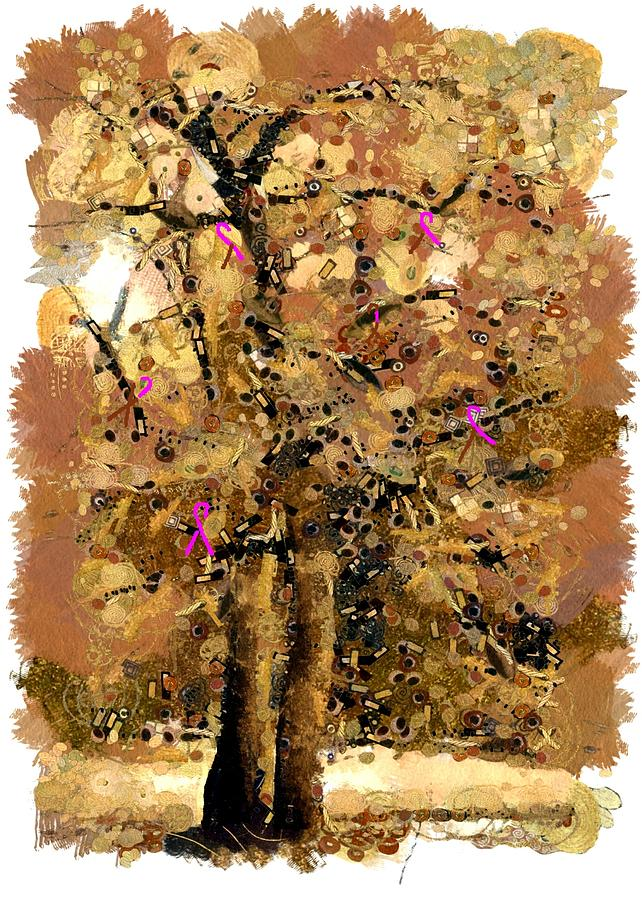 Saffron Colored Tree With Pink Cancer Awareness Ribbons by Paul Safran