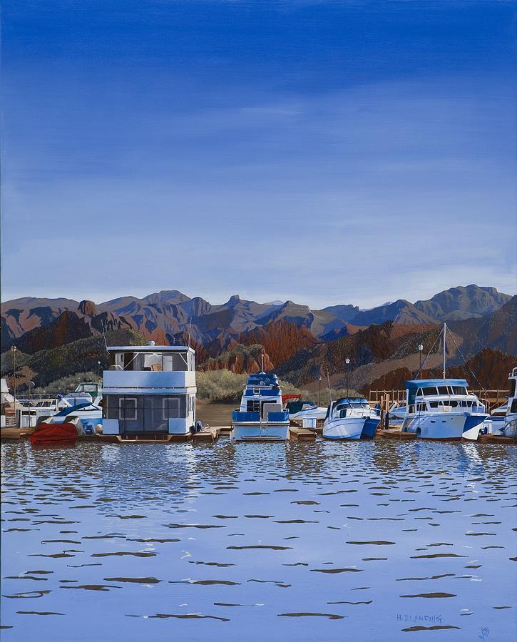 Waterscape Painting - Saguaro Lake Left by Hugh Blanding