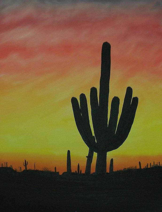 Nature Painting - Saguaro Sunset by Aaron Thomas