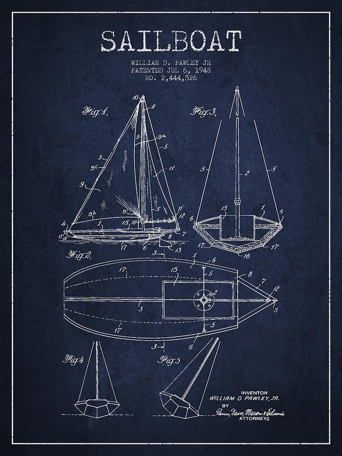 Sailboat Patent Drawing From 1948 Digital Art