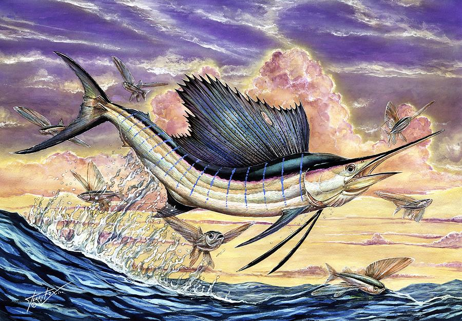 Sailfish Painting - Sailfish And Flying Fish In The Sunset by Terry Fox