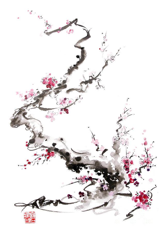 Sakura Spring Blossom Painting By Mariusz Szmerdt