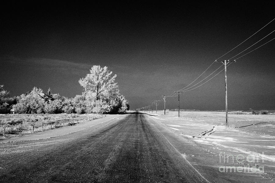Salt Photograph - salt and grit covered rural small road in Forget Saskatchewan Canada by Joe Fox
