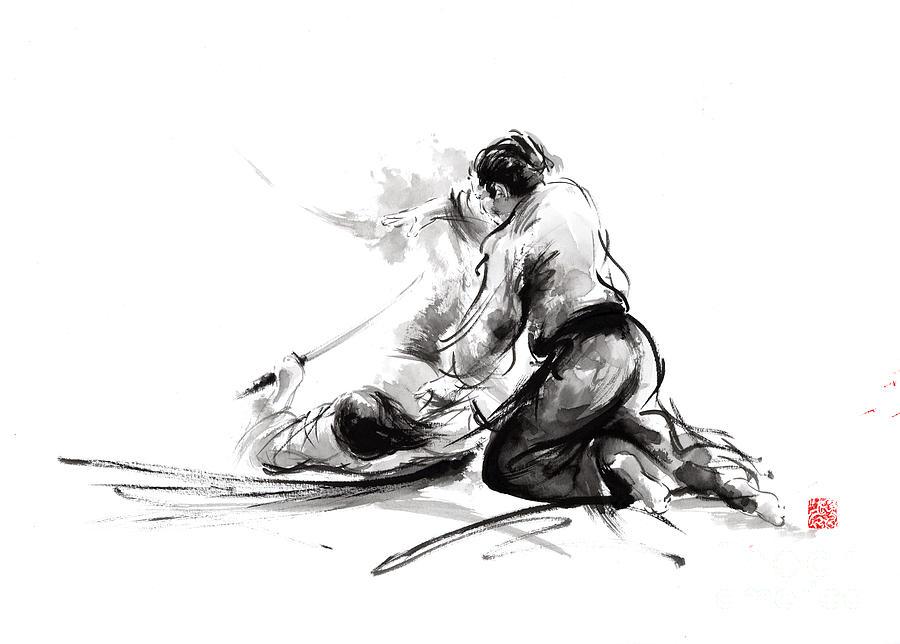 Samurai Painting - Samurai Sword Bushido Katana Martial Arts Budo Sumi-e Original Ink Painting Artwork by Mariusz Szmerdt
