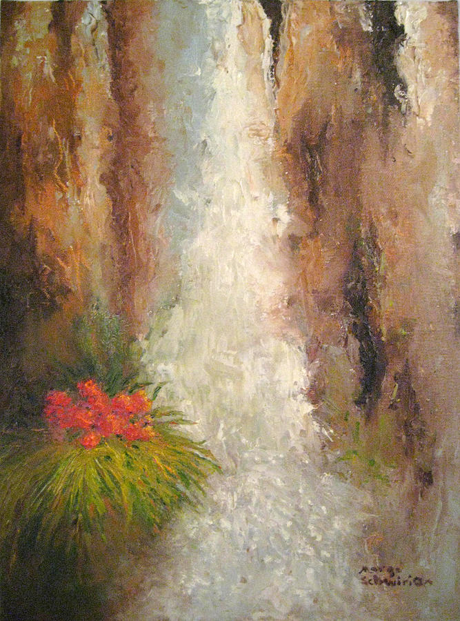 San Antonio Japanese Garden Waterfall by Margo Schwirian