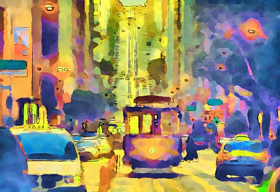 San Digital Art - San Francisco Trams 12 by Yury Malkov