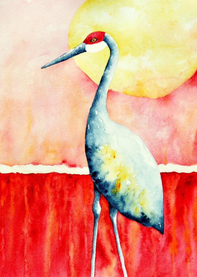 Crane Painting - Sandhill Crane II by Sarah Rosedahl