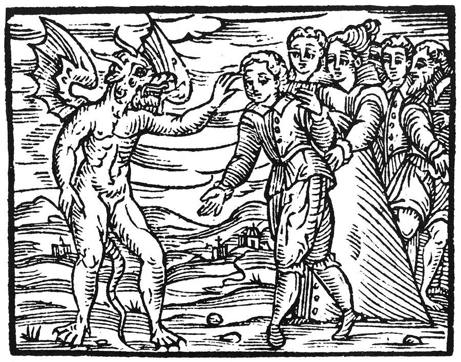 1626 Painting - Satan & Sorcerer, 1626 by Granger