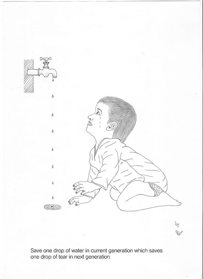 Drop drawing save water by ariraj p