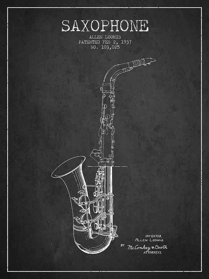 Saxophone Patent Drawing From 1937 - Dark Digital Art by Aged Pixel
