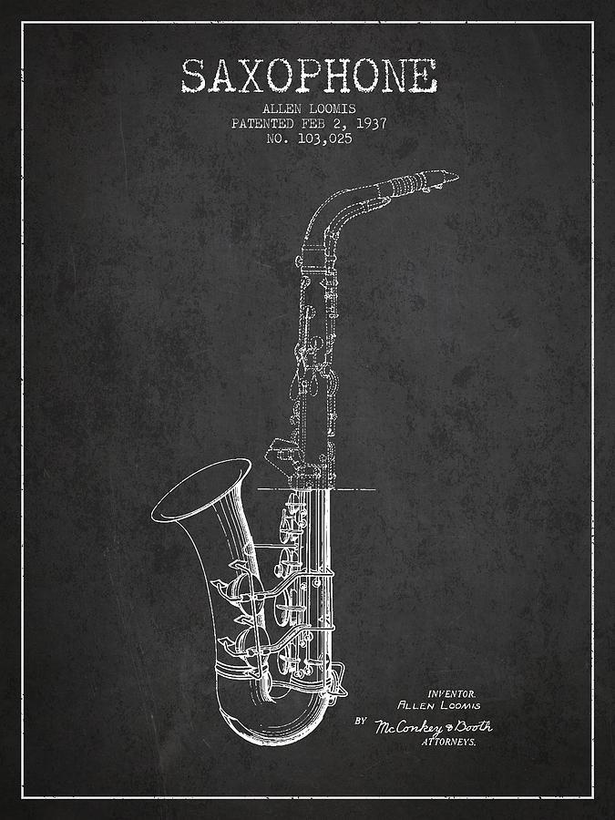 Saxophone Patent Drawing From 1937 - Dark Digital Art