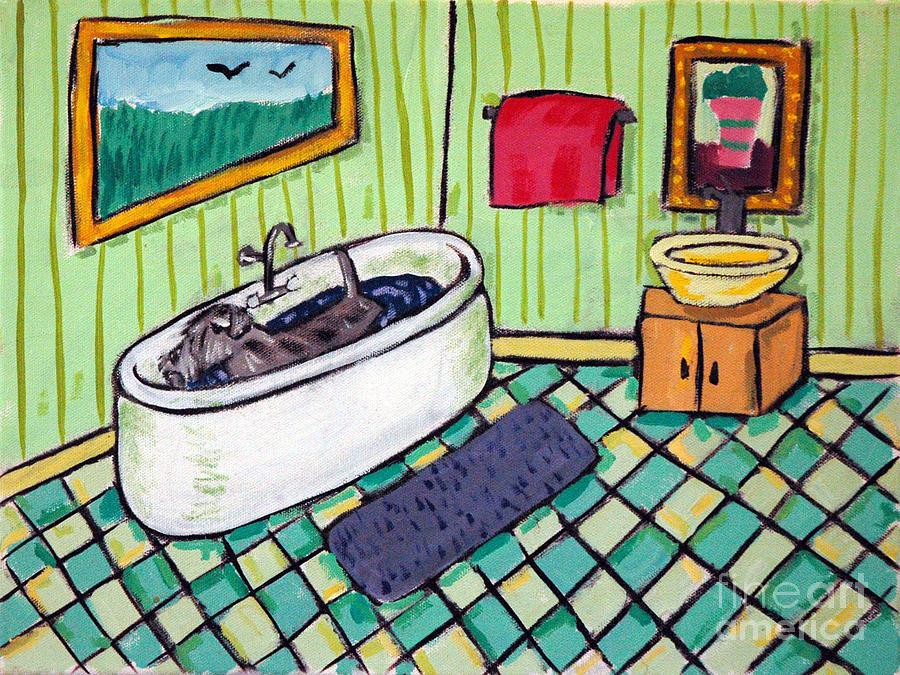Schnauzer Painting - Schnauzer Taking A Bath by Jay  Schmetz