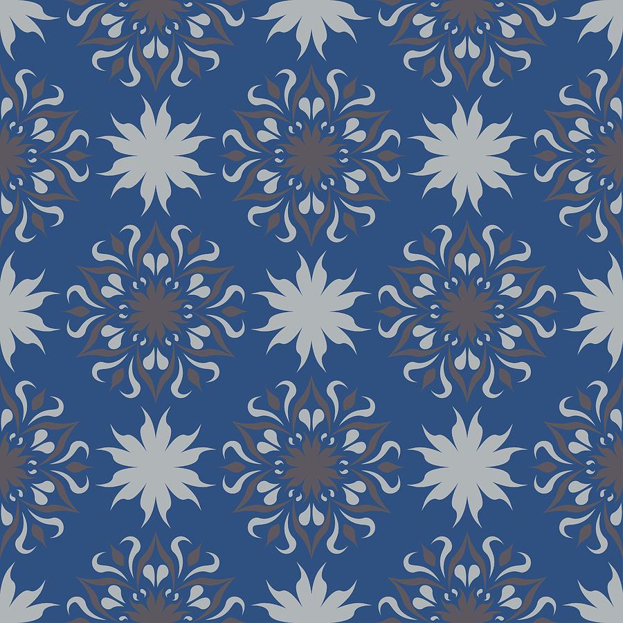 Seamless Floral Pattern Dark Blue Background With Flower Designs