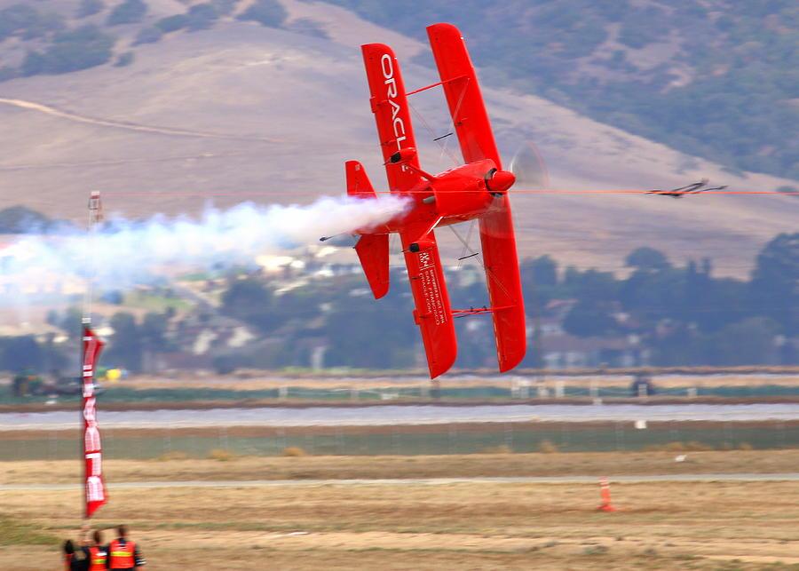 Sean Tucker Cuts The Ribbon In His Oracle Challenger At Salinas Ksns Airshow Photograph by John King