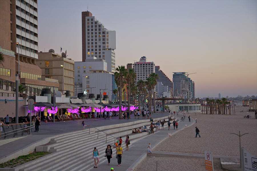 Seaside Promenade Of Tel Aviv At Dusk Photograph by Barry Winiker